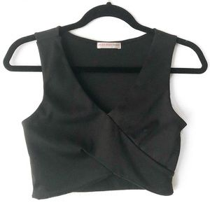 Black V-Neck Crop Top
